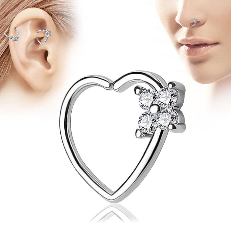 Designed Heart Nose Ring