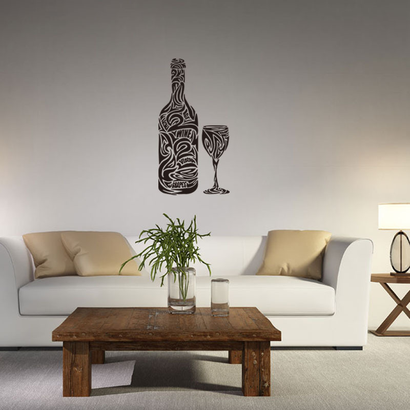 Abstract Wine and Goblet Wall Sticker for Mini Bar