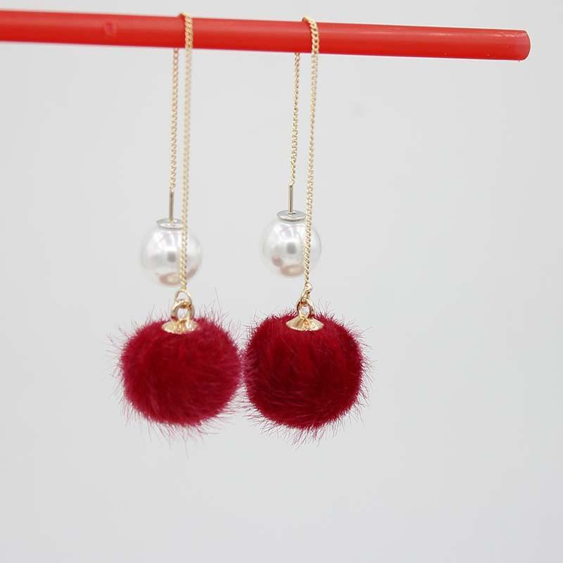 Mink Fur Ball and Pearl Drop Earrings