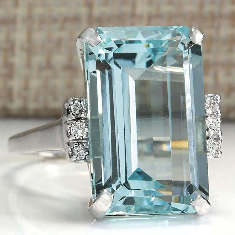 Artificial Blue Topaz Ring