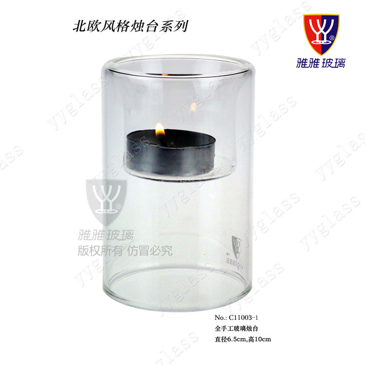 Simple Transparent Glass Candle Holder For Home Decoration