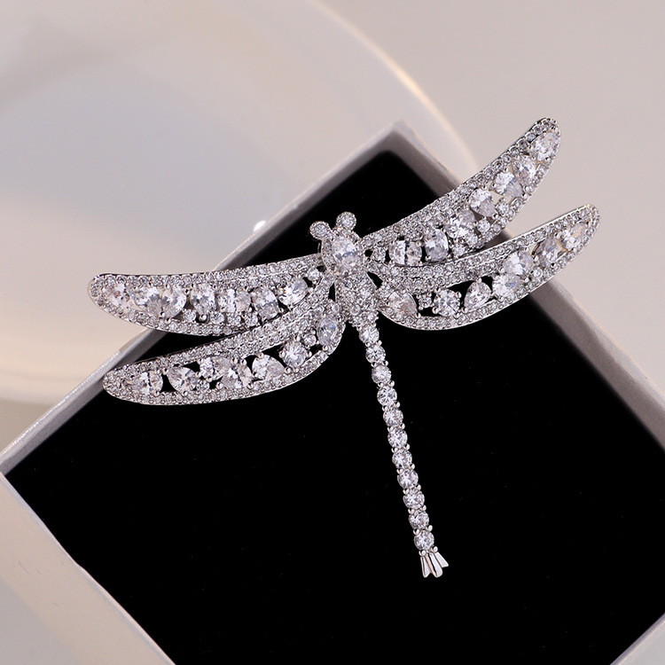 Silver-Tone Sparkling Dragonfly Brooch for Classy Clothing Pin