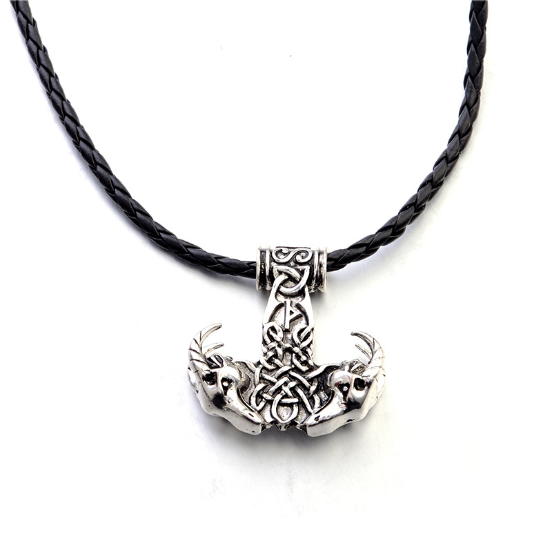 Alloy Ox Viking Hammer Pendant Necklace for Themed Parties