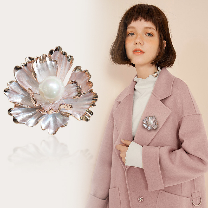 Sophisticated Peony Flower Pearl Brooch for Business Formal Suit