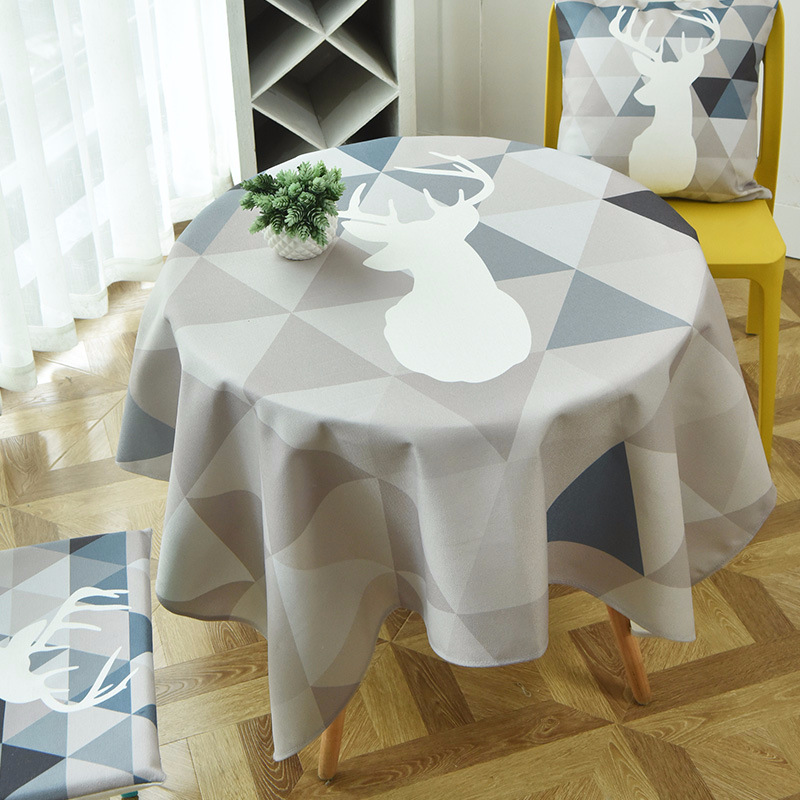 Blue Elk and Triangles Nordic Table Cloth