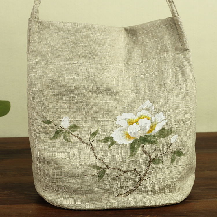 Fashionable Hand-Painted Linen Tote Bag for Casual Use