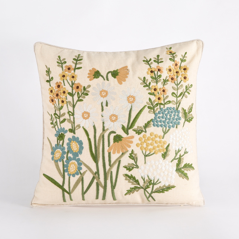 Embroidered Flower Design Pillowcase for Pillows