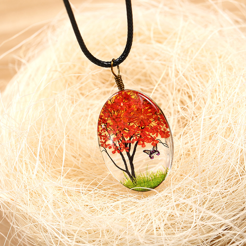 Mesmerizing Necklace with Earthly Design Glass Pendant for Nature Lovers