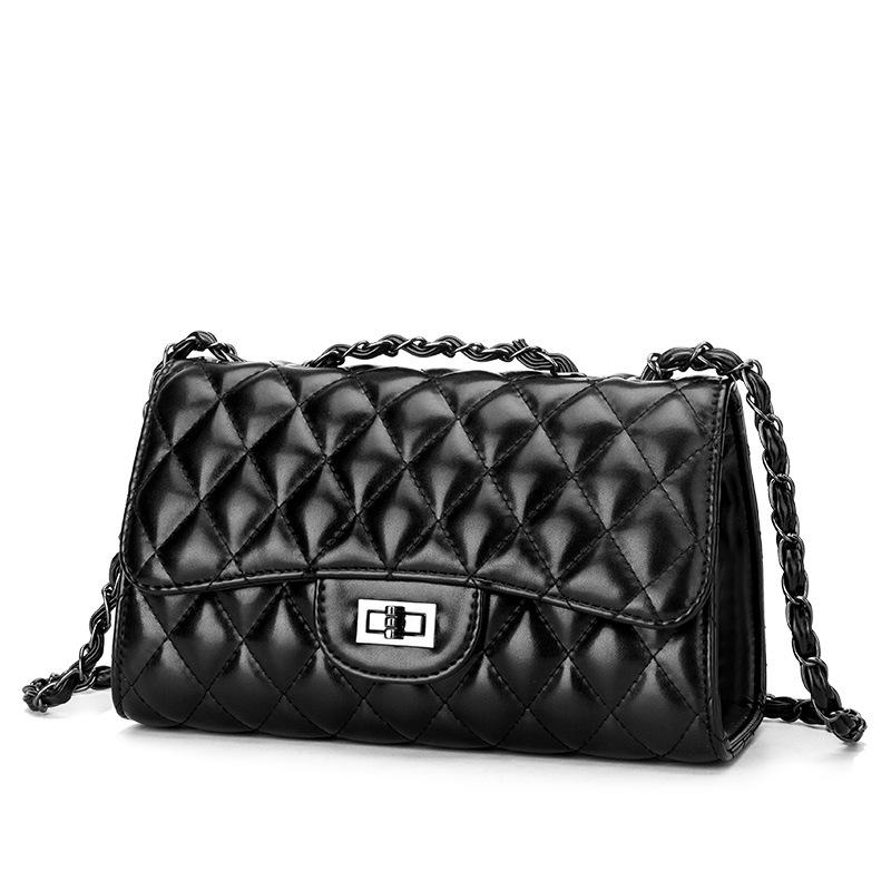 Harlequin Quilt Black Shoulder Bag