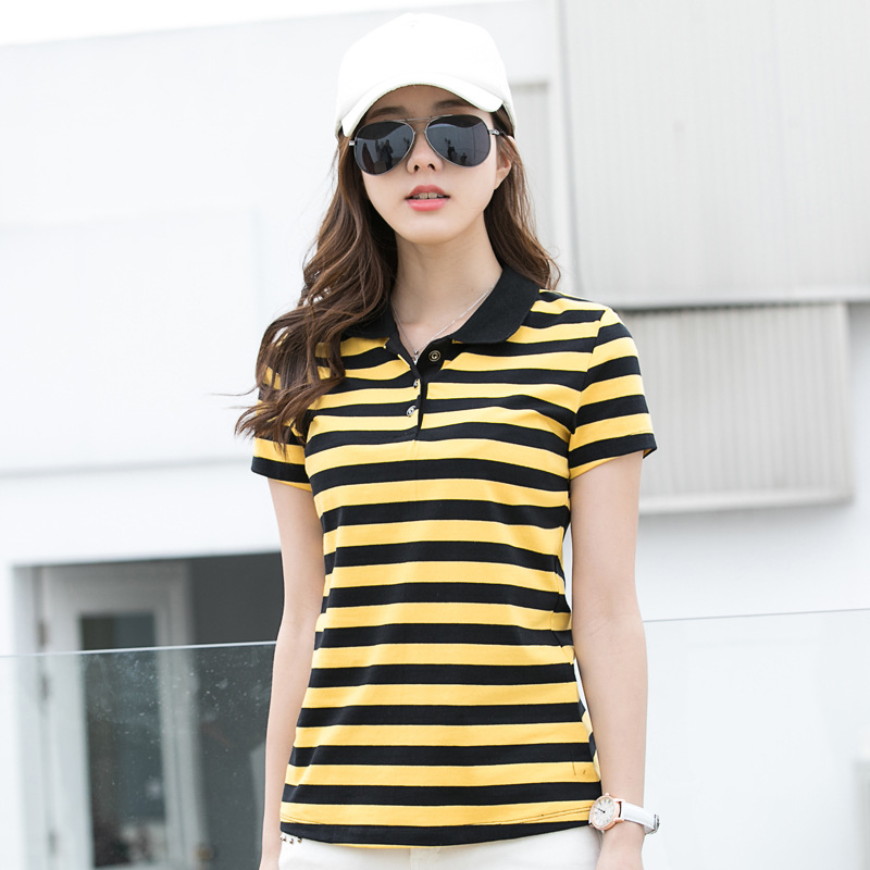 Basic Yellow and Black Stripe Cotton Polo Shirt for Summer Wear