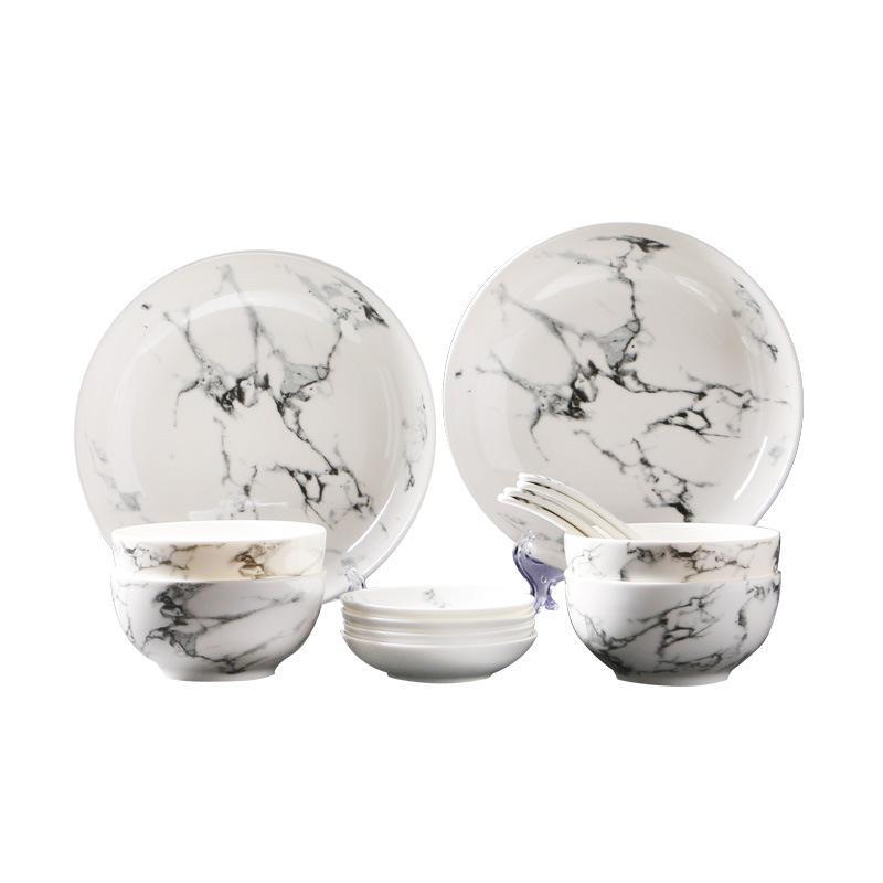 White Marble Dinnerware 14-piece Set