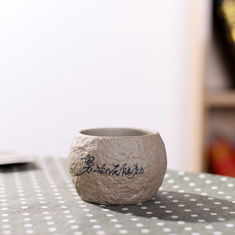 Mini Stone Flower Pot for Home Decoration and Plant Care