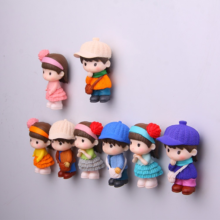 8-Piece Girl and Boy Cartoon Magnet for Home and Decoration