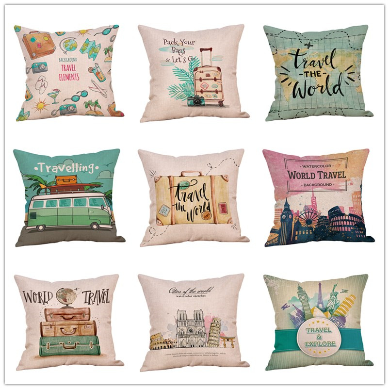 Creative Travel Themed Pillowcase for Car Seat Pillows
