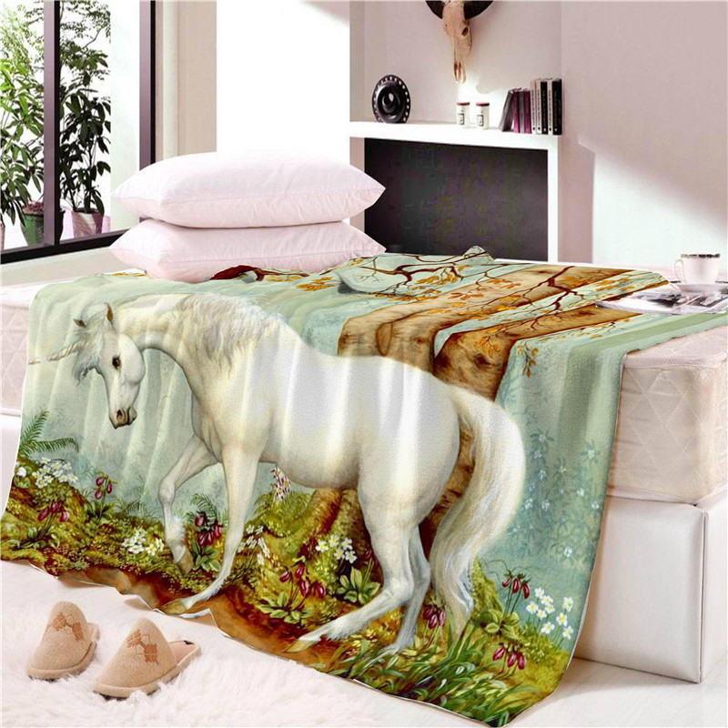 Dreamy Unicorn and Horse Blanket for Children's Room