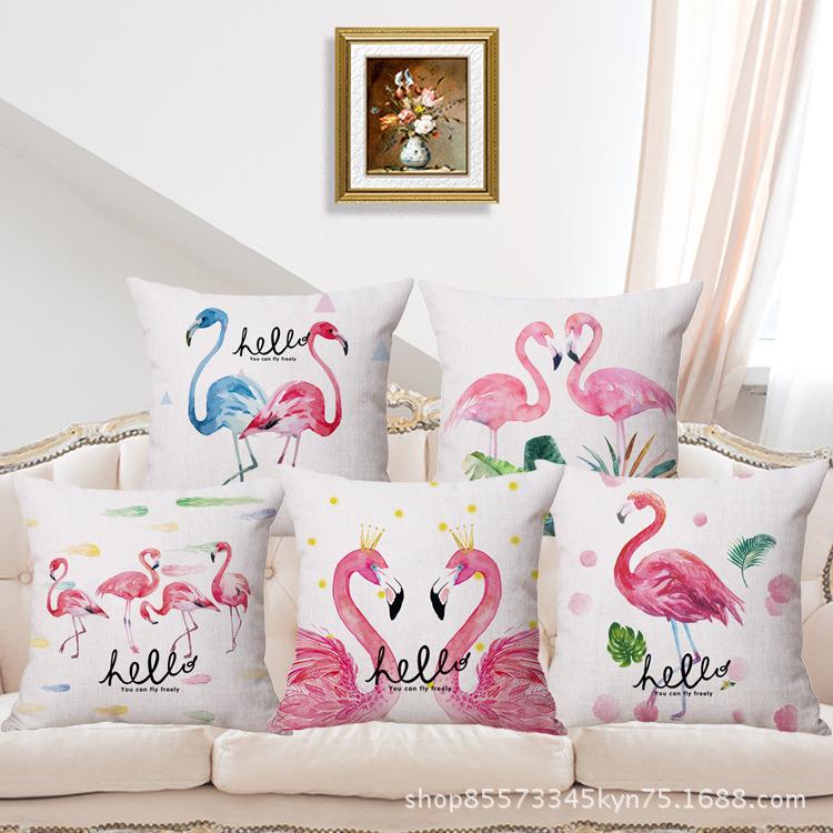 Minimalist Pink Flamingo Pillowcase for Garden