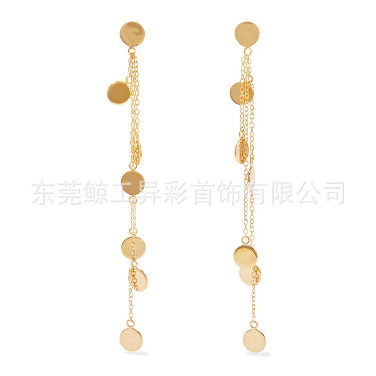 Long Dangling Disc Earrings for Fashion Trend