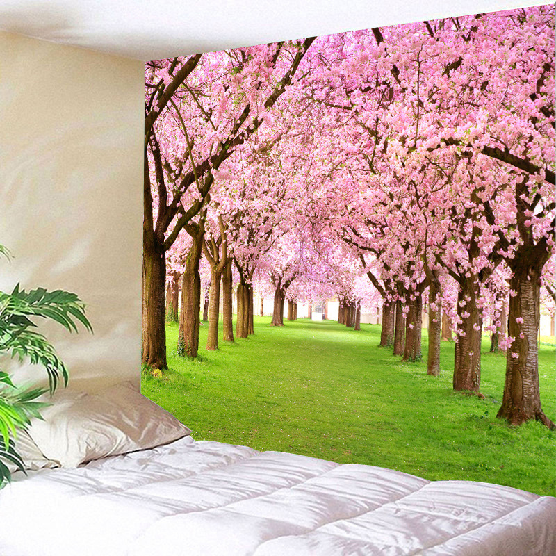 Nostalgic Maple and Cherry Blossom Tree Tapestry for Bedroom