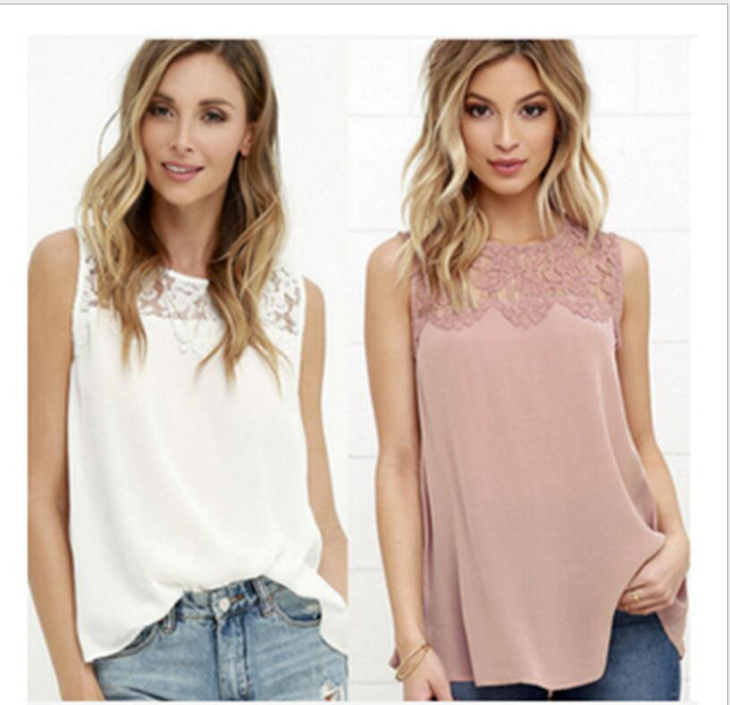 Unique Lace Neckline Sleeveless Shirt for Friends Get Together