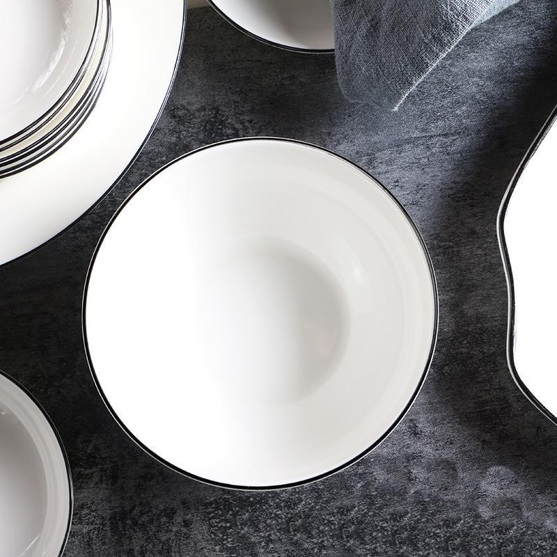 White with Black Edges 45-piece Dinnerware Set