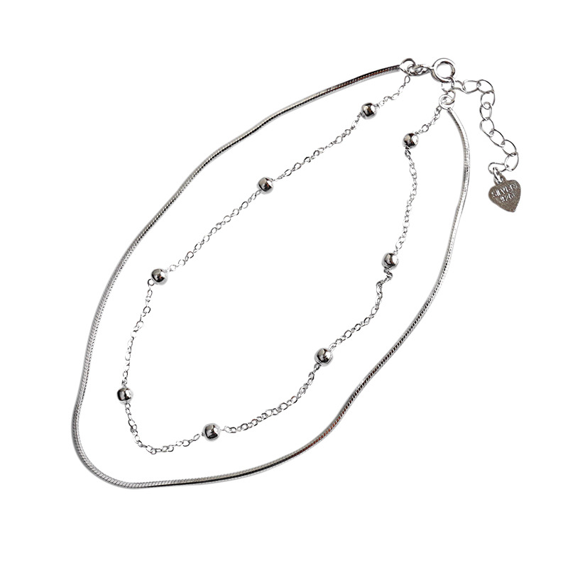 Two-Layer Ball Charm and Snake Chain Anklet