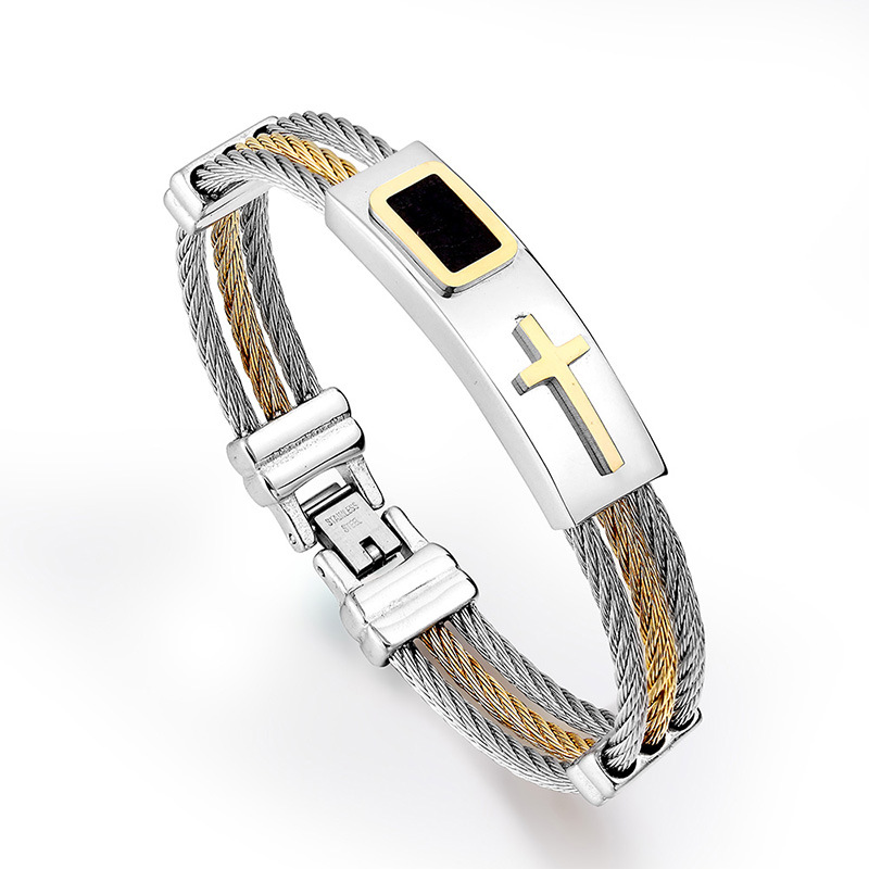 Riveting Multi-Tiered Solid Cable Chain Bracelet with Cross Embellishment for Gifting to Spiritual Men