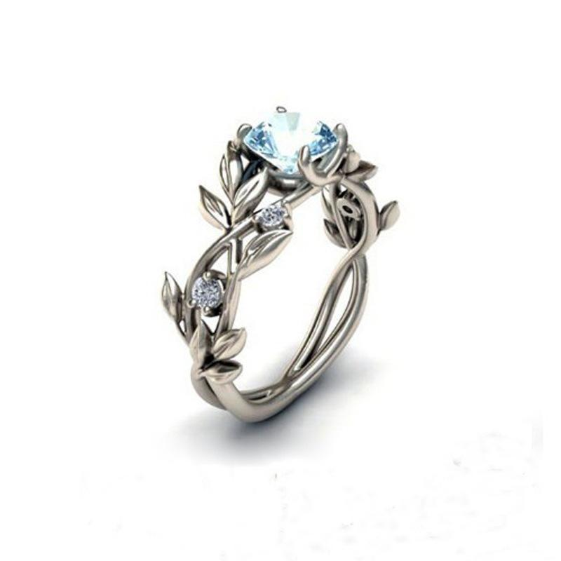 Light Blue Crystal Leaves Ring