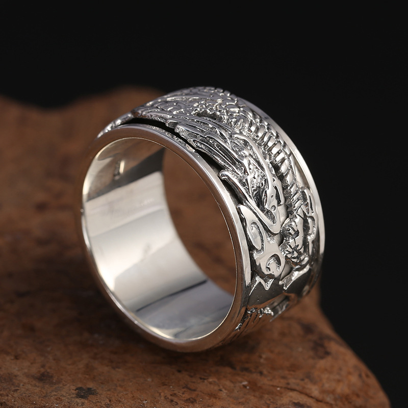 Vintage Dragon-Inspired Silver Ring for Casual Accessories