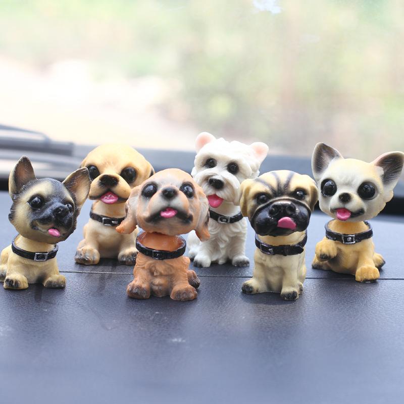 Mini Shaking Head Dog Ornament for Car Dashboard Decor