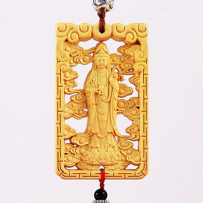 Boxwood Carving Mirror Charm for Rearview Mirrors