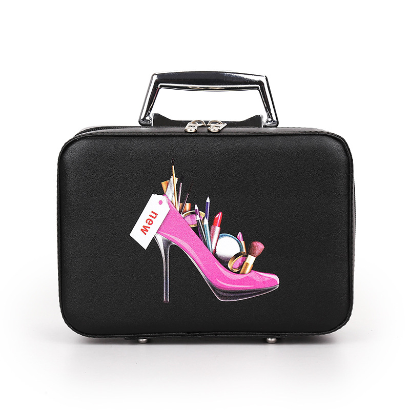Glam Graphic Hard Base Hand Bag for Holding Cosmetic Items