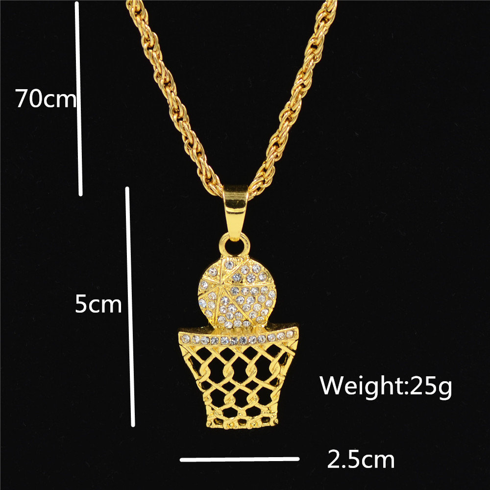 Gold Plated Rope Chain Necklace with Crystal-Studded Basketball Pendant for Hip Hop Outfit