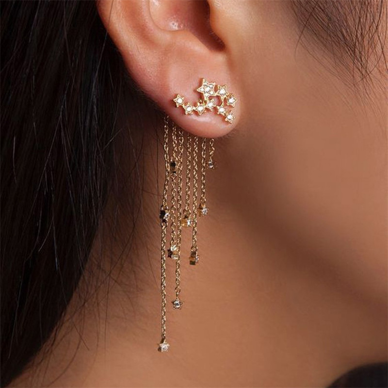 Elegant Sparkling Stars Tassel Earrings for Casual Gathering