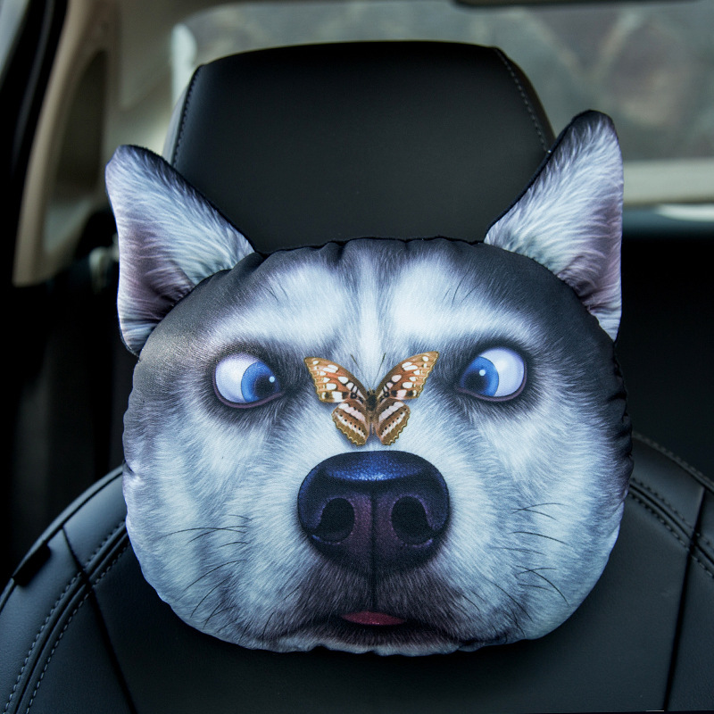 Funny Dog Pillow for Car Headrest