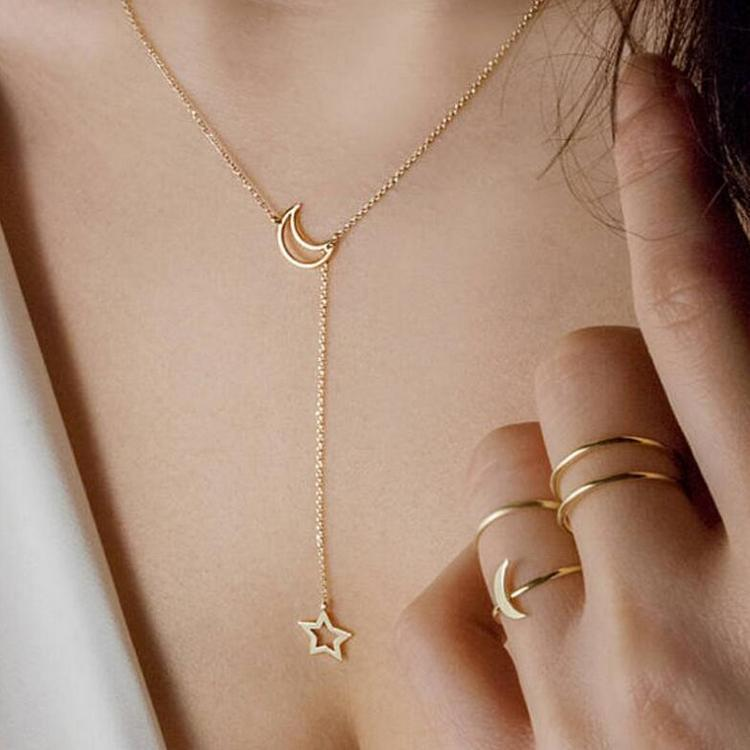 Trendy Moon and Star Necklace for Monthsary Gifts