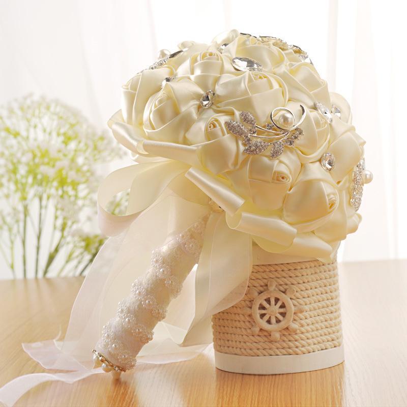 Handmade Flower Ribbons Rhinestones