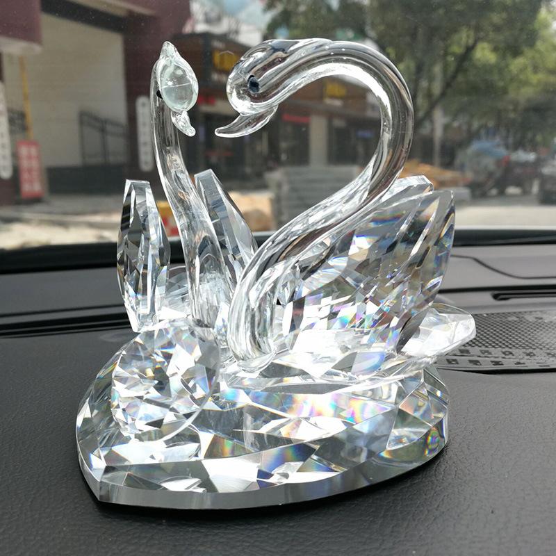 Shiny Swan-Carved Glass Perfume Holder for Car Windshield Holder