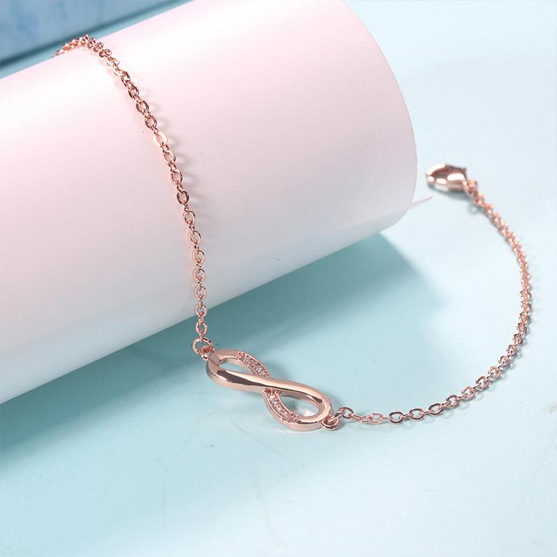Embedded Crystal on Infinity Charm Bracelet