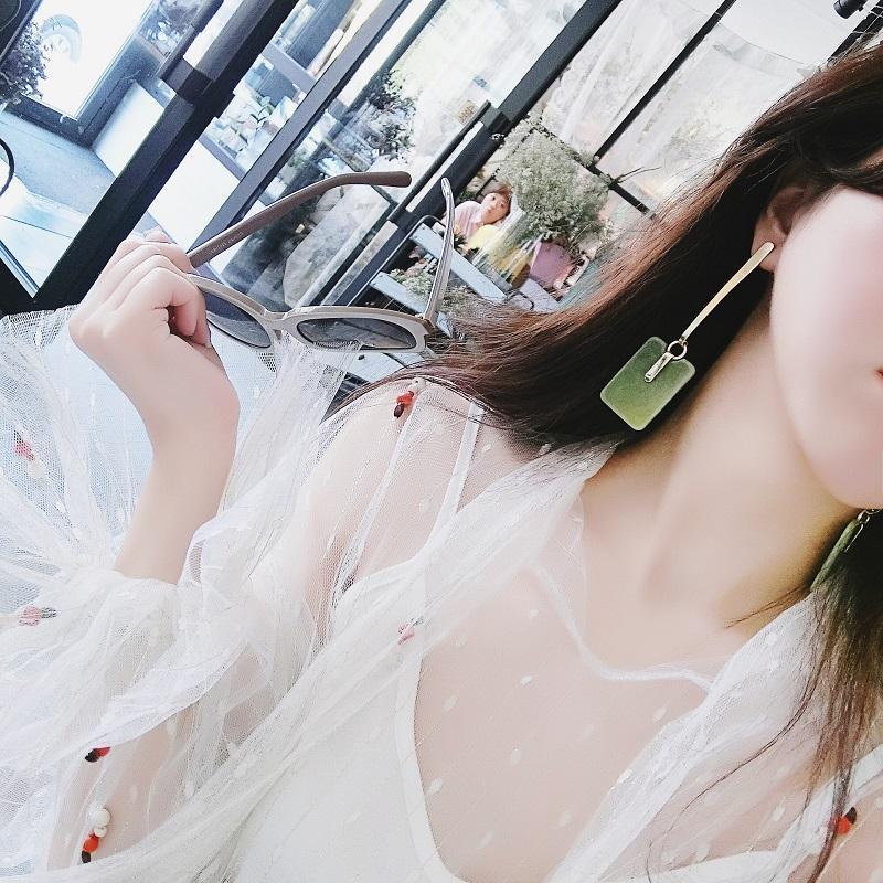 Block Shape Long Earrings