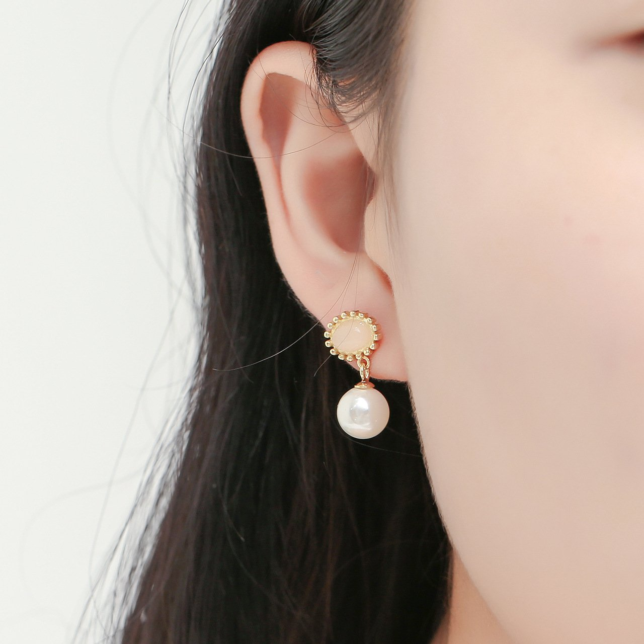 Pearl and Pink Gem Dangling Gold-Plated Earrings