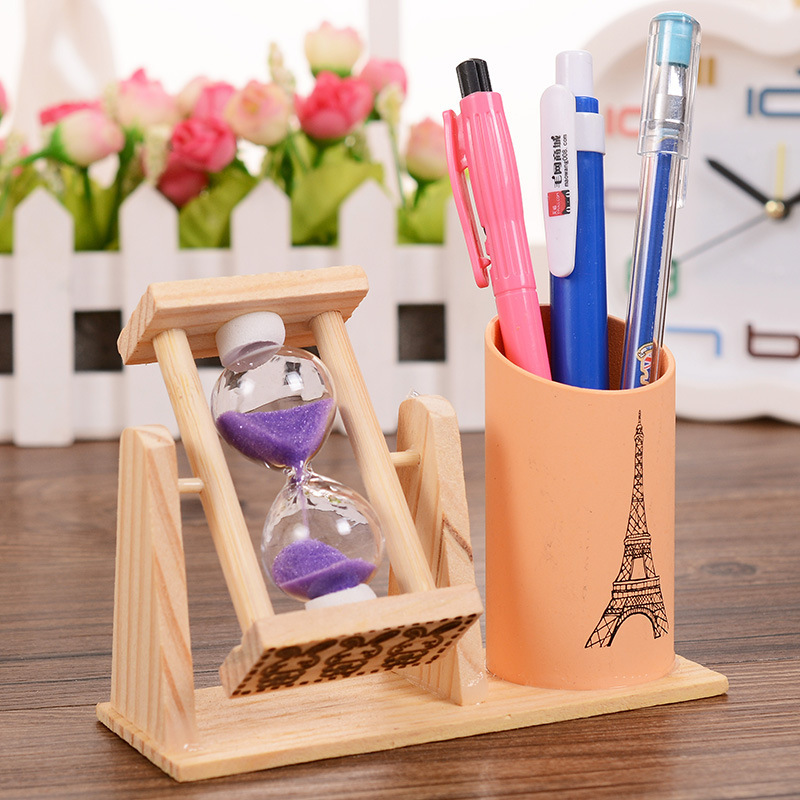 Nordic Wooden Rotating Hour Glass with Pen Holder for Office Desktop Decor