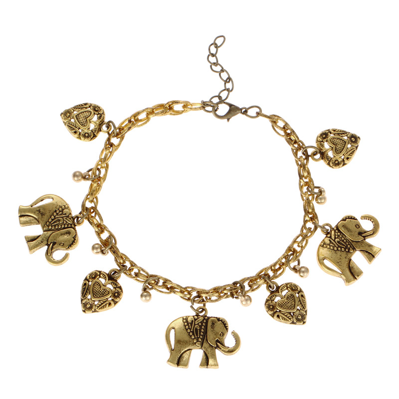 Oriental Elephant and Heart Charm Bracelet for Casual Wear