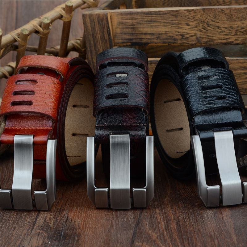 Elongated Buckle Leather Belt