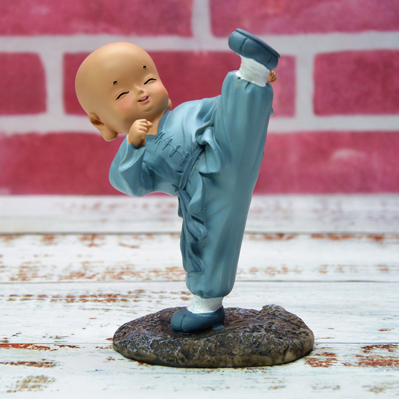 Kung-Fu Mini Monk Figurine for Table Decoration