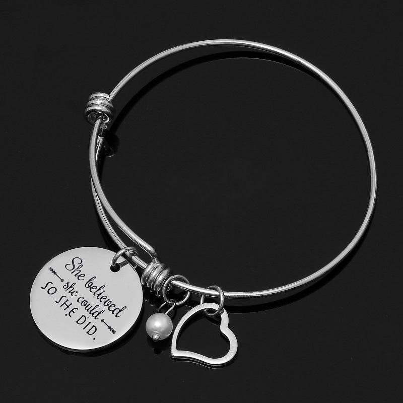 """""""She Believed She Could So She Did"""" and Heart Bracelet"""