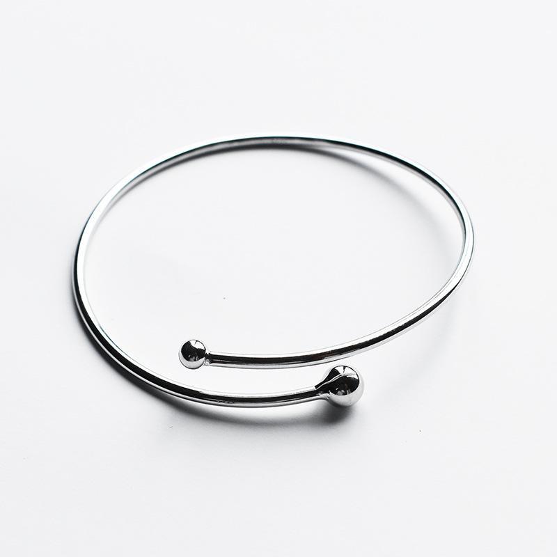 Round Beads Silver Open Bracelet
