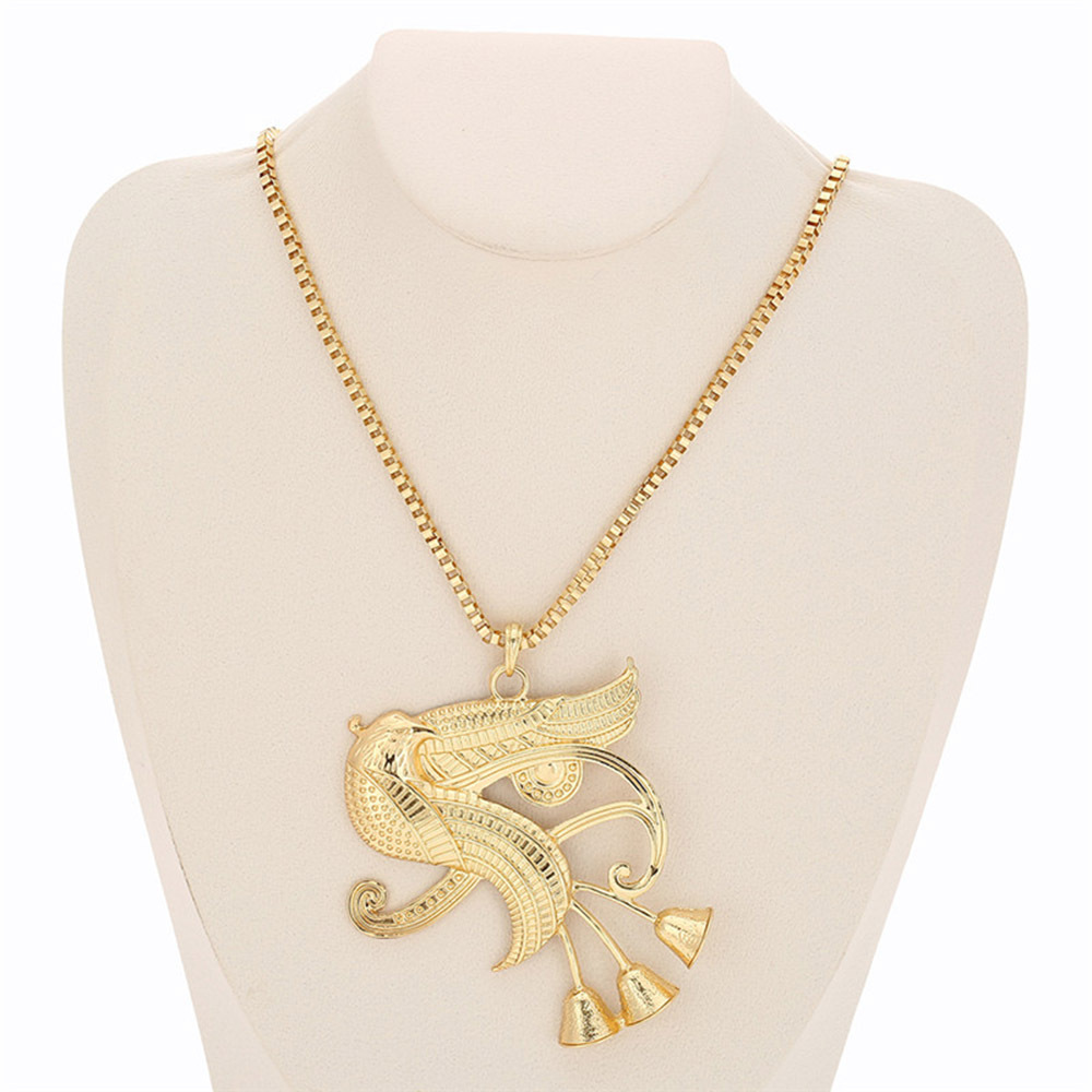 Egyptian-Inspired Pendant Alloy Chain Necklace for Hip Outfits