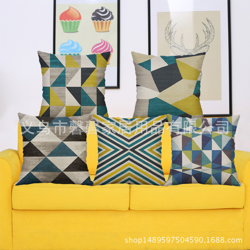 Soft Pillowcase with Irregular Geometric Pattern for Couch Pillows