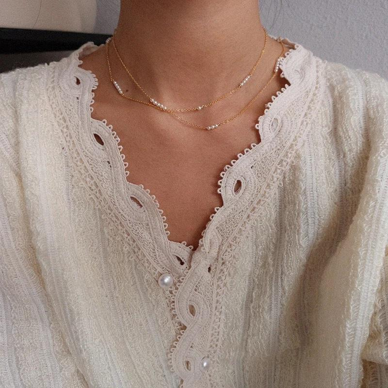 Scattered Small Pearls Layered Necklace