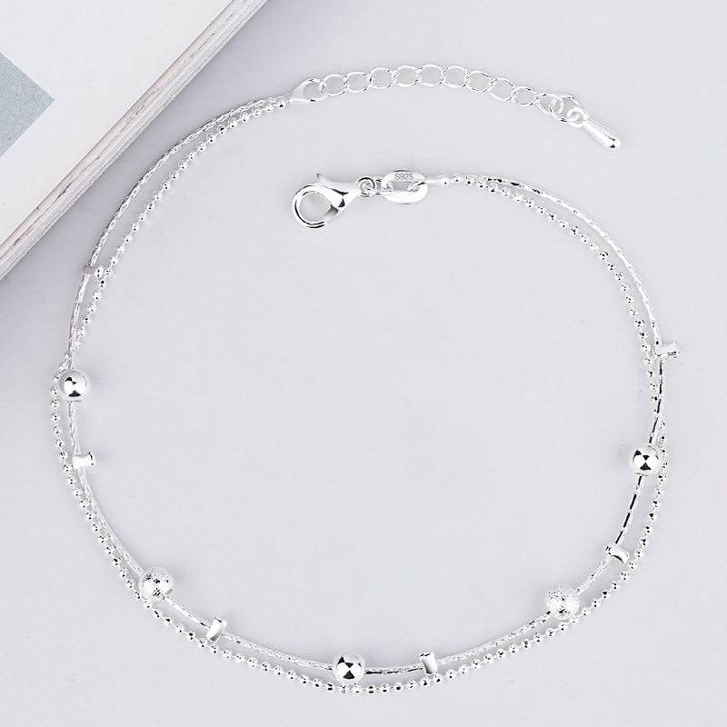 Dainty Yet Sophisticated Silver Beading Two-Layer Anklet for Daily Use
